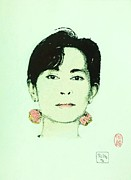 Leader Drawings Originals - San Suu Kyi by Roberto Prusso