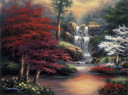 Waterfall Painting Posters - Sanctuary Poster by Chuck Pinson