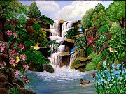 Waterfalls Paintings - Sanctuary by Fram Cama