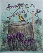 Canary Mixed Media Metal Prints - Sanctuary Metal Print by Kim Jones