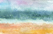 Grey Clouds Mixed Media Posters - Sand and Sea Poster by Linda Woods