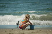 Swimsuit Photo Posters - Sand Bucket Poster by Tamyra Crossley