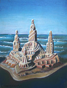 Chicago Pastels Prints - Sand Castle Print by Susan Herber