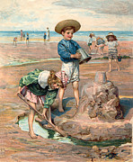 Kids At Beach Prints - Sand Castles At The Beach Print by Unknown