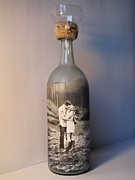 Decanters Art - Sand Ceremony Hand Painted Bottle With Your Photo by Kris Crollard