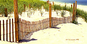 Beach Fence Digital Art Posters - Sand Dunes and Dune Fence New Jersey Coast Poster by A Gurmankin