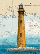 Map Art Painting Posters - Sand Island Lighthouse AL Chart Map Art Poster by Cathy Peek