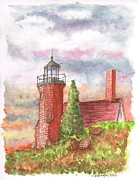 National Painting Posters - Sand Island Lighthouse - Wisconsin Poster by Carlos G Groppa