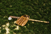 Baseball Bat Metal Prints - Sand Lot Baseball Metal Print by Bill Cannon