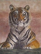 Vintage Painter Painting Prints - Sand painting of a Bengal Tiger Print by Brian Pike
