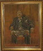 Vintage Painter Painting Prints - Sand Painting - Portrait of Sir Winston Churchill Print by Brian Pike