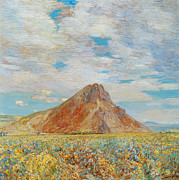 Childe Posters - Sand Springs butte Poster by Childe Hassam