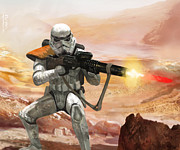 Science Fiction Metal Prints - Sand Trooper - Star Wars the Card Game Metal Print by Ryan Barger