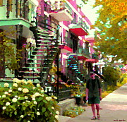 Staircase Paintings - Sandals Shorts Sidewalks Steps Stairs Verdun Spiral Staircases Montreal City Scenes Carole Spandau by Carole Spandau