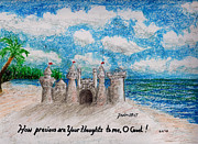 Catherine Pastels Framed Prints - Sandcastle Framed Print by Catherine Saldana