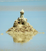 Sand Castles Framed Prints - Sandcastle/Reflection of a Castle Framed Print by Nanci Fielder
