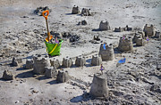 Humans Posters - Sandcastle Squatters Poster by Betsy A Cutler East Coast Barrier Islands