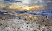 Topsail Island Posters - Sandcastle Sunrise Poster by East Coast Barrier Islands Betsy A Cutler
