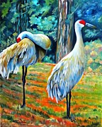 Cranes Mixed Media Prints - Sandhill Cranes at Twilight Print by Carol Allen Anfinsen