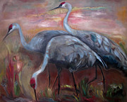 Warm Colors Paintings - Sandhill Cranes by Susan Hanlon
