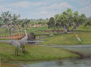 Live Oak Trees Paintings - Sandhills at Mallory by Leda Rabenold