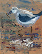 Pallet Knife Originals - Sandpiper Fishing by Christine Crowell