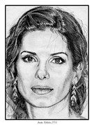 Star Drawings Framed Prints - Sandra Bullock in 2005 Framed Print by J McCombie
