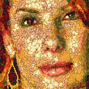 Celebrities Digital Art Prints - Sandra Bullock in the way of Arcimboldo Print by Dragica  Micki Fortuna