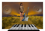 Digital Collage Photo Posters - Sands of Music Poster by Brian Roscorla