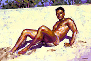 Nude Male Prints - Sandy Bottom Print by Douglas Simonson