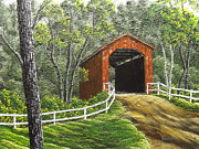 Covered Bridge Painting Metal Prints - Sandy Creek Covered Bridge Metal Print by Don Bowling
