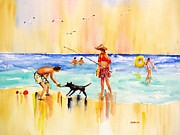 Dog Play Beach Paintings - Sandy Dog at the Beach by Carlin Blahnik