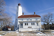 Lamdscape Prints - Sandy Hook Lighthouse In Winter Print by Geri Scull
