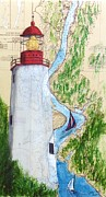 East Coast Lighthouse Paintings - Sandy Hook Lighthouse NJ Chart Map Art Peek by Cathy Peek