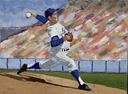 Baseball Paintings - Sandy Koufax by Ron Gibbs