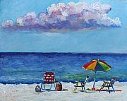 Beach Chairs Prints - Sandy Still Life Print by Eve  Wheeler