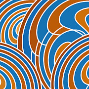 Wavy Prints - Sanguine And Blue Abstract Print by Frank Tschakert