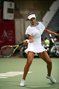 Professional Tennis Player Prints - Sania Mirza on the ball in Doha Print by Paul Cowan