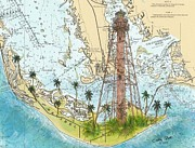 Sanibel Island Prints - Sanibel Island Lighthouse FL Nautical Chart Map Art Cathy Peek Print by Cathy Peek