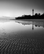 Monotone Prints - Sanibel Lighthouse And Beach II Print by Steven Ainsworth