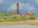Beach Prints Drawings Posters - Sanibel Lighthouse Poster by John Edebohls