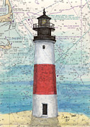 Massachusetts Coast Paintings - Sankaty Head Lighthouse MA Nautical Chart Map Art by Cathy Peek
