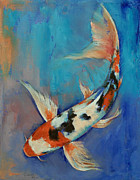 Koi Painting Posters - Sanke Butterfly Koi Poster by Michael Creese
