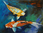 Koi Painting Posters - Sanke Koi Painting Poster by Michael Creese