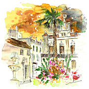 Town Square Drawings Prints - Sanlucar de Barrameda 02 Print by Miki De Goodaboom