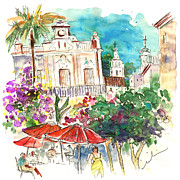 Town Square Drawings Prints - Sanlucar de Barrameda 03 Print by Miki De Goodaboom