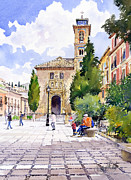Granada Paintings - Santa Ana Church Granada by Margaret Merry