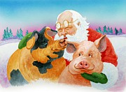 Thanking Metal Prints - Santa and His Favorites Metal Print by Eight Little Pigs Publishing