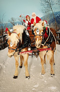 Christmas Holiday Scenery Art - Santa and His Helper Driving A Team Of Horses by Kriss Russell