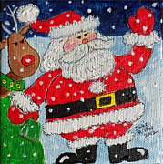 Rudolph Painting Prints - Santa and Rudolph Print by Julie Brugh Riffey